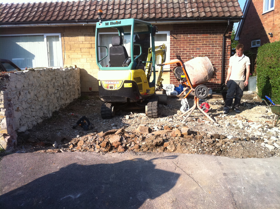 digging out for a new stone driveway. working in kineton, warwickshire
