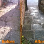 before and after picture of relaying of stone flags in kineton warwickshire