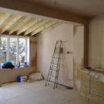 Extension all plastered and ready for painting, skirting and doors